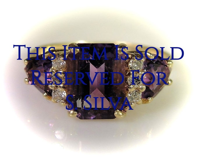 Reserved for S.Silva - 4th Final Payment: Amethyst Diamond Ring, 14K Yellow Gold Emerald Cut Amethyst and Diamond Ring,Trillion Cut Amethyst