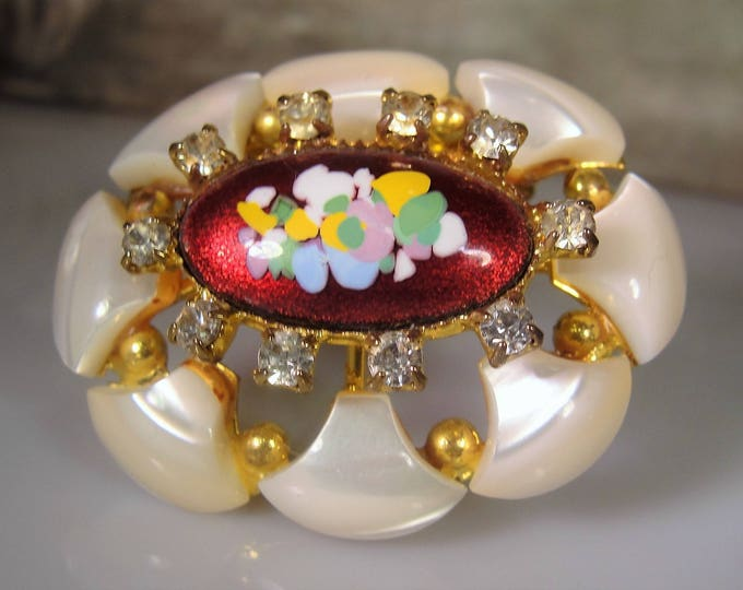 Fashion Brooch, Mid-Century Hand Painted Red Enamel Rhinestone and Lucite Oval Brooch