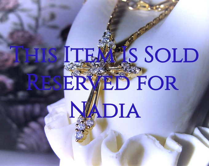 "Reserved for Nadia: 10K Gold CZ Cross Necklace, Cubic Zirconia Accented Pendant, 20"" 18K Gold Plated Chain, Religious Necklace, Vintage"