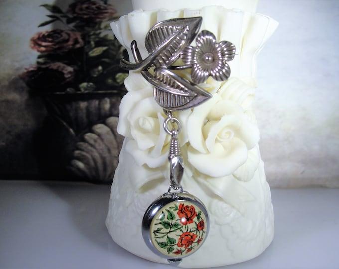 BUCHERER Pendant Watch hanging off of a Rodi & Wienenberger FLORALIA Lapel Pin, Vintage Watch, Vintage Silver Pin