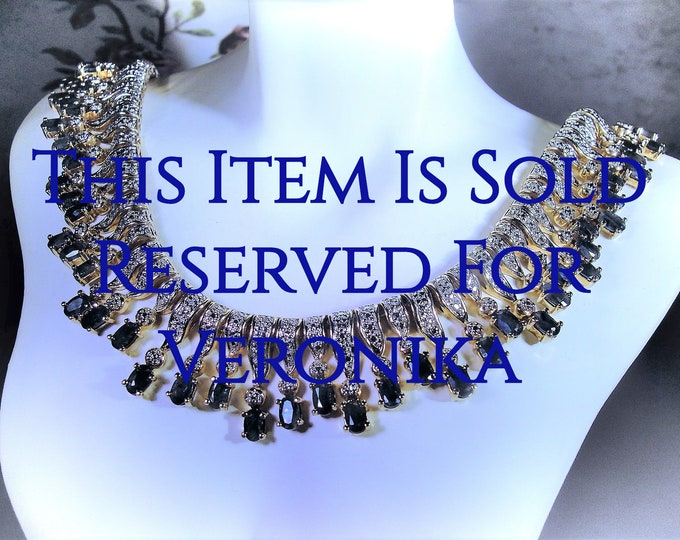 Reserved for Veronika - 8th Final Payment: Sapphire & Diamond Necklace, Gold Vermeil, Genuine Diamonds, Genuine Sapphires, Vintage Necklace