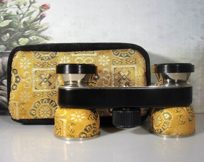 Opera Glasses, Golden Brocade Opera Glasses with Matching Case, 2.5X Magnification, Vintage Opera Glasses, Original Box, Collectible