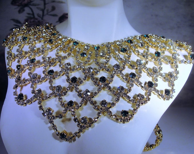 Reserved for Dounia: CAMROSE & KROSS Reproduction of a Jacqueline Bouvier Kennedy Green Crystal Bib Necklace