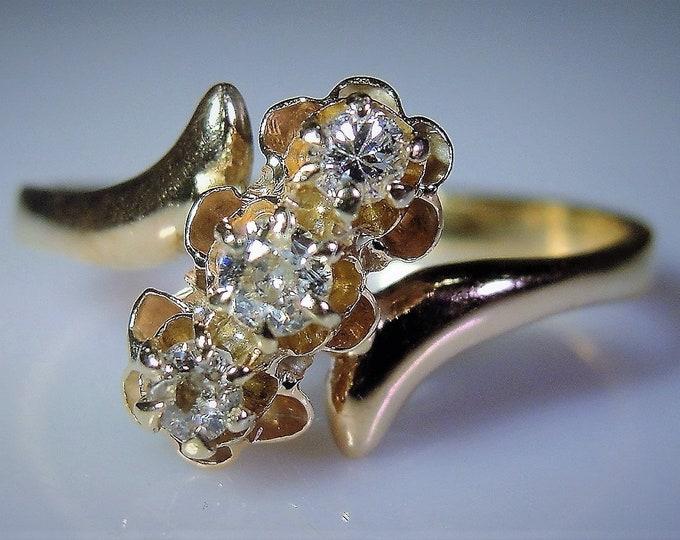 Anniversary Ring, 14K Art Nouveau 3 Diamond Bypass Ring, Diamond Flower Ring, Trilogy Ring, 3 Stone Ring, Promise Ring, Sz 6.25, FREE SIZING