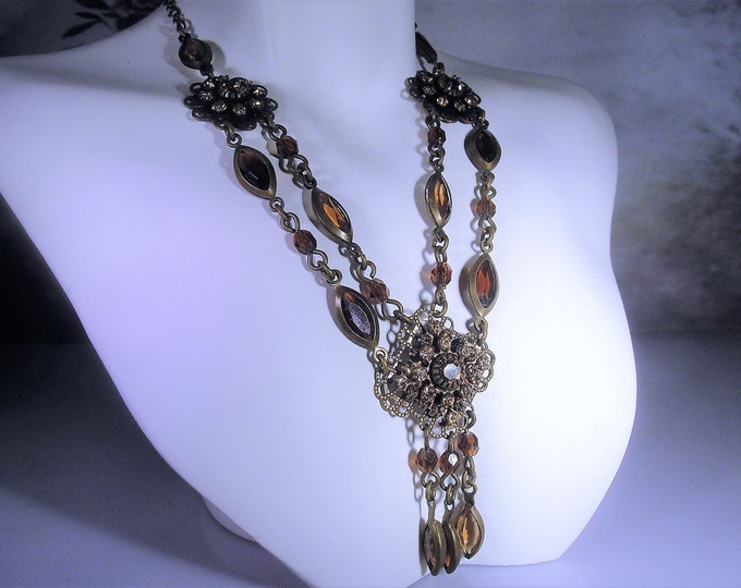Victorian Necklace, Amber Brown and Champagne Rhinestone Crystals Brass Necklace, 2 Strand Brass Necklace, Vintage Necklace, 18 inches