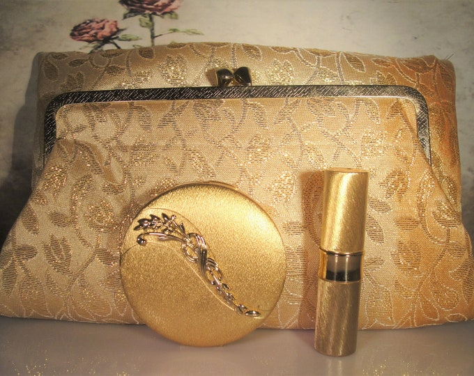 DUBARRY Purse and Compact Set, Brocade Formal Purse, Powder Compact, Lipstick, Makeup Brush, 4 Piece Set, Vintage Purse and Compact Set