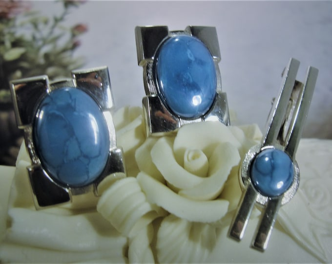 HICKOK Tie Clip & Cufflinks Set, White Gold Plated and Mottled Teal Blue Stones , Vintage Tie Clip and Cufflinks Set