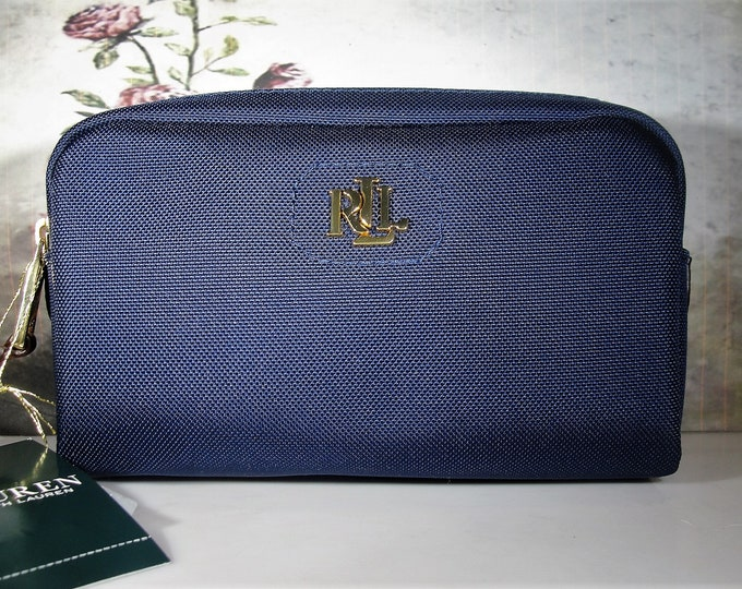 Lauren Ralph Lauren Blue Bainbridge Mini Double Zip Travel Case, Personal Essentials Bag, Small Zip Up Bag, Vintage Travel Bag