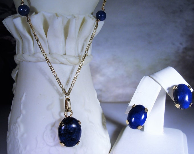 14K Yellow Gold Blue Lapis Lazuli Necklace and Earrings Jewelry Set, Lariat Necklace, Pierced Earrings, Vintage Jewelry Set