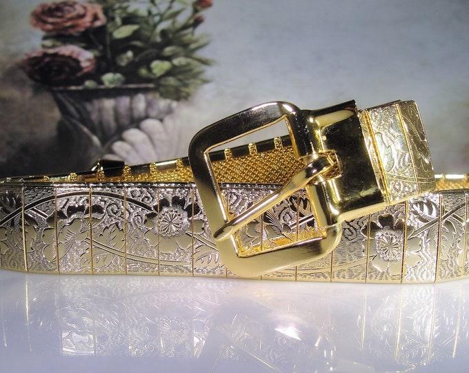 Gold Etched Metal Belt, Chased Belt, Gold Plated Metal Belt, Floral Embossed Belt, Women's Belt, Vintage Belt, 33 Inches Long