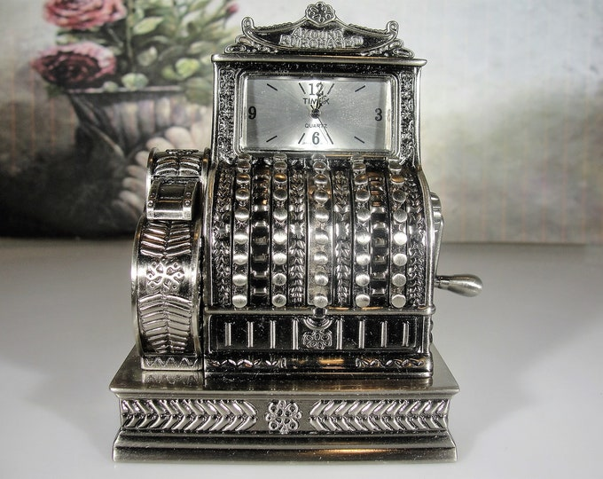 TIMEX Old Fashioned Cash Register Miniature Clock, Pewter Steel, Quartz Clock, Collectible,  Beautifully Detailed, Vintage Miniature Clock