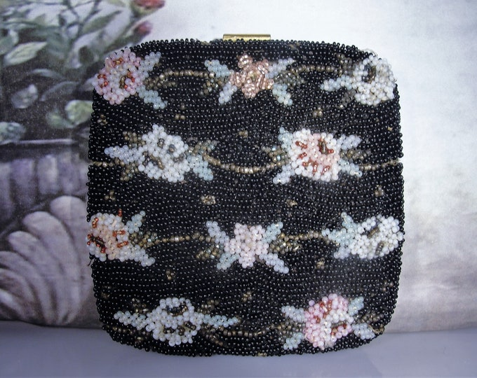 Microbead Powder Compact, Vintage French Black Microbead Floral Powder Compact