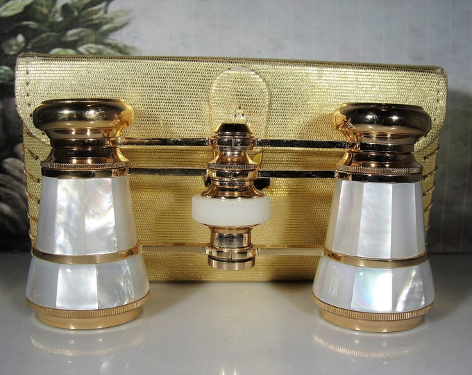 Opera Glasses, MIGNON Mother of Pearl Opera Glasses, Yellow Gold Plated, Mini Binoculars, Theatre Glasses, Vintage Opera Glasses–Collectible
