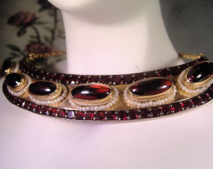1800s Antique Neo Etruscan Necklace, Antique Garnet Necklace, Garnet and Seed Pearl Necklace, African Red Garnet Necklace, Etruscan Necklace