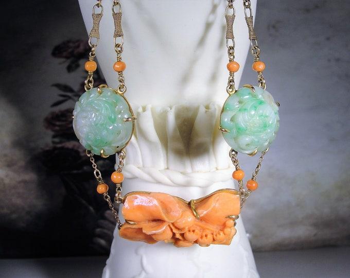 Art Nouveau Coral Necklace / Choker, 14K Hand Carved Orange Coral & Green Jade Necklace, Vintage Necklace, Vintage Choker, Antique Necklace