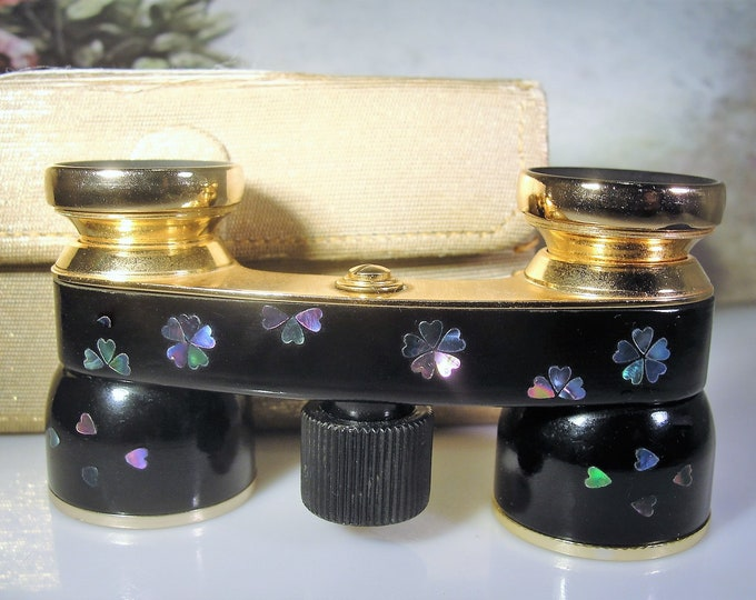 MIGNON Opera Glasses, Abalone Applique Opera Glasses, Black Enamel, Mini Binoculars, Theatre Glasses, Vintage Opera Glasses – Collectible