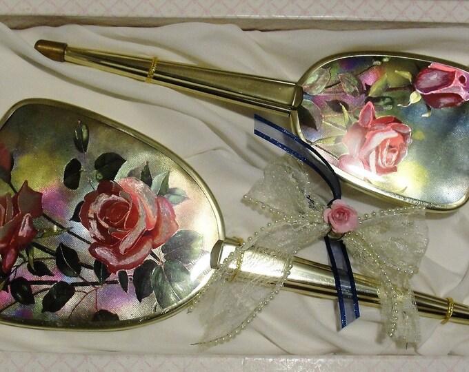 REGENT OF LONDON Vanity Set, Hair Brush and Hand Held Mirror Vanity Set, Floral Design, Gold Tone Metal, 2 Piece Set, Vintage Vanity Set