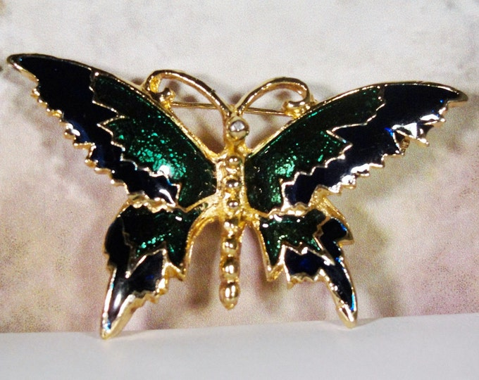 Butterfly Brooch, Metallic Emerald Green and Black Gold Tone Butterfly Brooch, Butterfly Brooch, Butterfly Pin, Green Butterfly Brooch