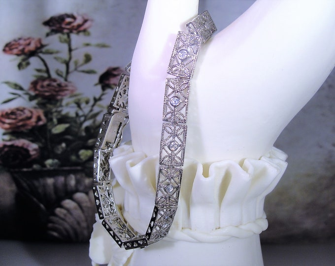 Vintage Art Deco White Gold Vermeil CZ Diamond Filigree Bracelet