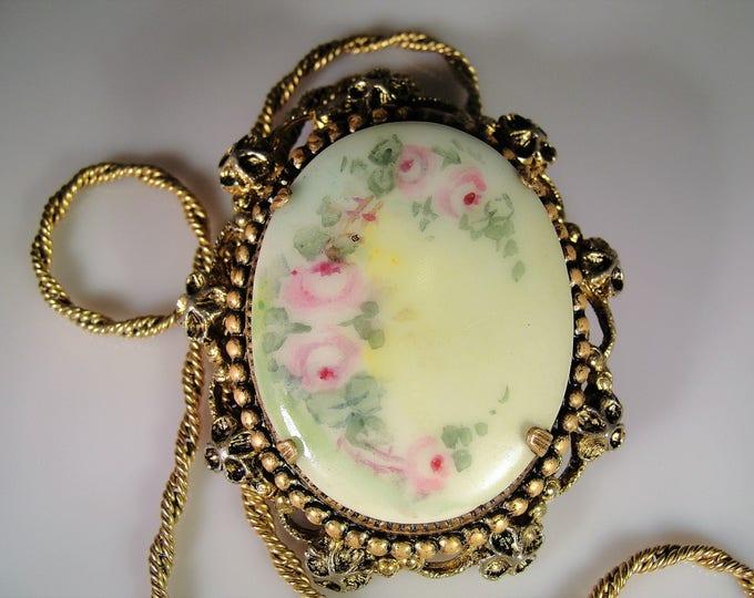 Convertible Porcelain Cameo Brooch, Brooch & Necklace, Porcelain Floral Brooch, Hand Painted Porcelain, Vintage Brooch, Vintage Necklace