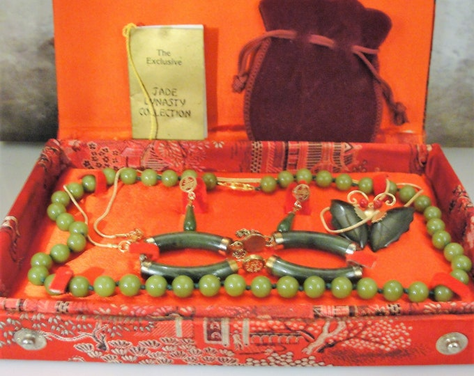 Jewelry Set, Vintage ORIENTAL DYNASTY Jade Jewelry Set, Jade Beaded Necklace Earrings Bracelet Convertible Brooch Gold Filled Chain