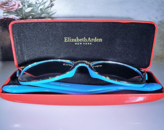 FOSTER GRANT Sunglasses in an Elizabeth Arden Eyeglass Case, Wayfarer Sunglasses, Tortoise Shell Blue Glasses, Red Glasses Case, Vintage