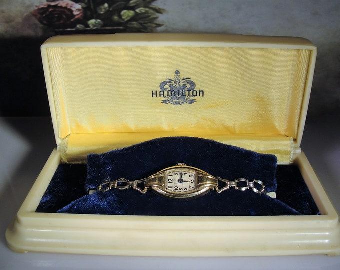 HAMILTON Watch: Women's 14K Yellow Gold Art Deco Style Wrist Watch, Gold Filled Bracelet, Vintage Wrist Watch