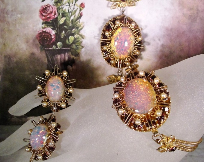 Victorian Jewelry Set, Pink Faux Opal Cabochons, Amethyst Rhinestones, Seed Pearls, Necklace, Bracelet, Clip-On Earrings, Vintage Parure