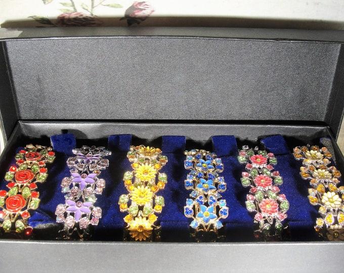 Bracelet Set, DANBURY MINT Seasonal Sensation Enamel and Crystal Bracelet Set, 6 Bracelets, Colorful Enamel and Crystals, Vintage Bracelet