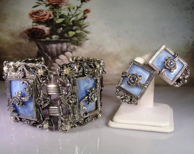 SELRO Bracelet and Earrings Set, Victorian Revival, Art Nouveau Set, Pewter Tone Metal and Blue Lucite Tiles, Vintage Jewelry Set