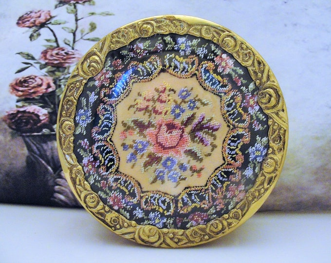 Vintage Ormolu Jewelry Vanity Round Footed Casket, Petite Point Roses, English Brass Jewelry Box, Vanity Casket