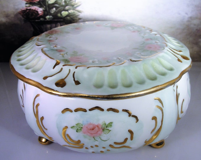 LOIS VOSGERAU Hand Painted Victorian Style Porcelain Footed Trinket Box, Powder Box, Candy Dish, Vanity Accessory, 24K Gold Leaf Accents