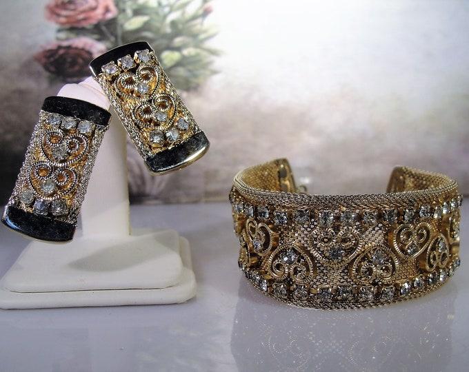 Rhinestone Mesh Heart Bracelet and Earrings Set, Wide Mesh Bracelet, Clip On Earrings, Rhinestone Heart Design, Vintage Bracelet Earrings