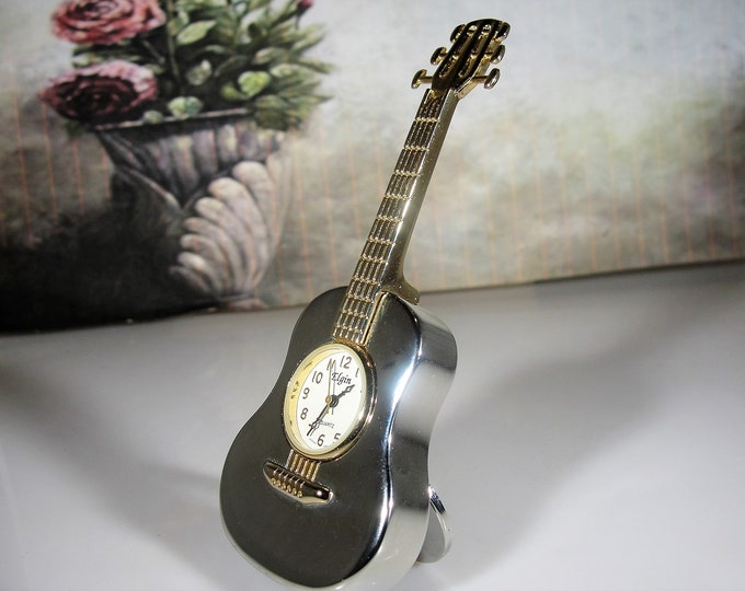 ELGIN Miniature Chrome and Gold Guitar Desk Clock, Miniature Clock, Guitar Clock, Collectible, Vintage Miniature Clock