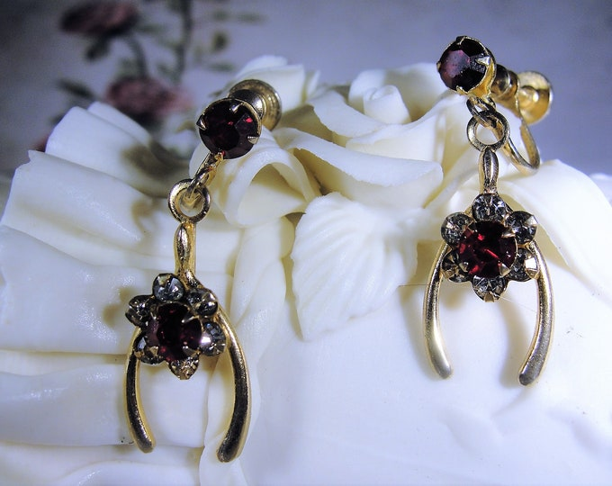 Screw Back Earrings, Wishbone Flower Gold Tone Earrings, Ruby Colored Flower Accents, Dangle Earrings, Vintage Earrings