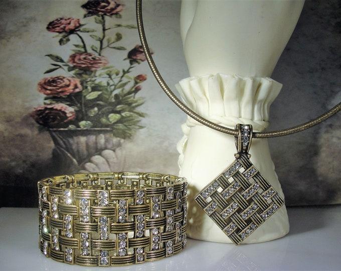 PREMIER DESIGNS Jewelry Set, Basket Weave Rhinestone Bracelet, Basket Weave Rhinestone Necklace, Brass Jewelry Set, Vintage Jewelry Set