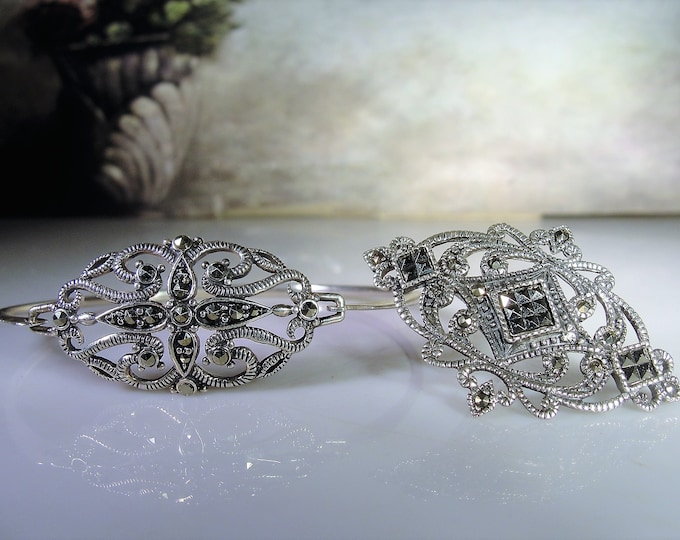 Sterling Silver Marcasite Bangle and Brooch Set, Marcasite Bangle, Marcasite Brooch, Sterling Silver Set, Vintage Bangle, Vintage Brooch