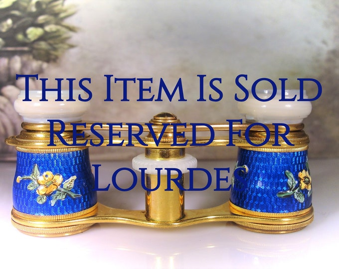 Reserved for Lourdes - 10th Payment: Opera Glasses, LEMAIRE Antique French Cobalt Blue Guilloche Opera Glasses with Painted Yellow Flowers