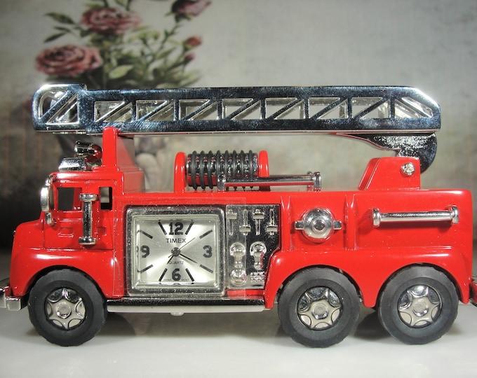 TIMEX Miniature Red Ladder Firetruck Quartz Clock