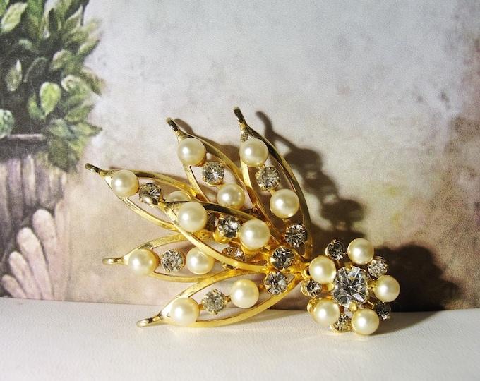 Pearl Brooch, Vintage Pearl & Rhinestone Bouquet Shaped Fashion Brooch
