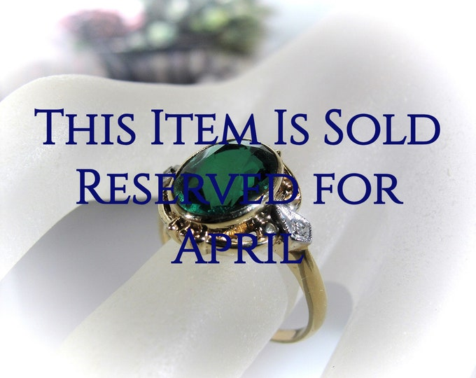 Reserved for April - 5th Final Payment: 1940s Green Emerald and Diamond Ring, Bezel Set Emerald, Oval Green Emerald, Genuine Diamonds, S 7.5