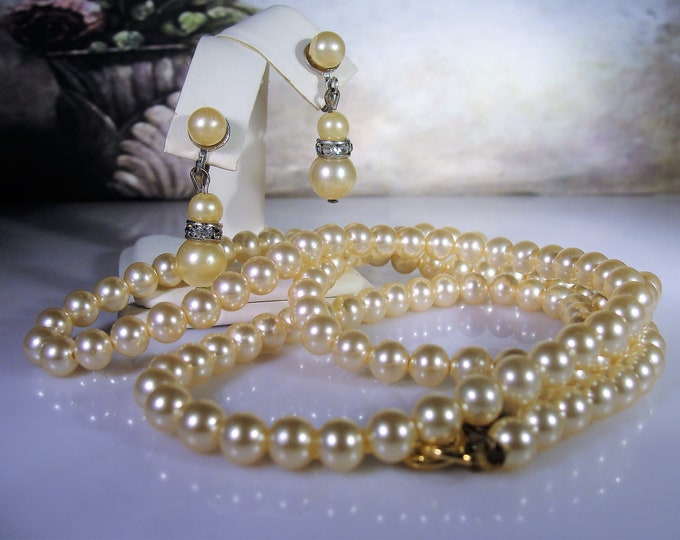 "1940s Golden Faux Pearl Necklace and Earrings Jewelry Set, 30"" String of Pearls, Screw Back Pearl & Rhinestone Earrings, Vintage Jewelry Set"