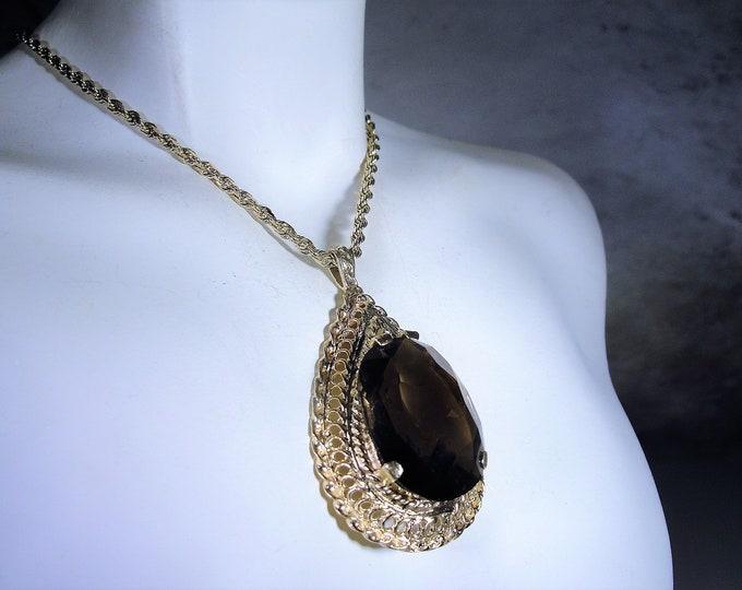 14K Gold Brown Spinel Necklace, 14.95 Carats, Genuine Oval Spinel Gem, Pear Shaped Pendant, Spinel Necklace, Vintage Necklace