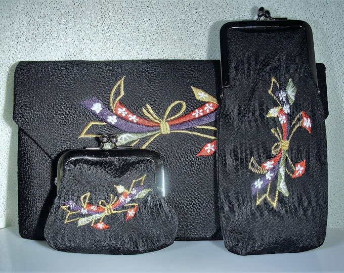 Purse Set, Vintage Japanese K'ntetsu Purse Set Embroidered Envelope Purse w/ Matching Eye Glass Case & Coin Purse, Vintage Purse Set