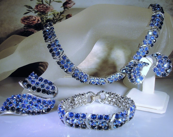 LISNER Blue Rhinestone Jewelry Set, Midcentury Jewelry Set, Necklace, Bracelet, Clip-On Earrings, Brooch, Vintage Jewelry Set, Collectible
