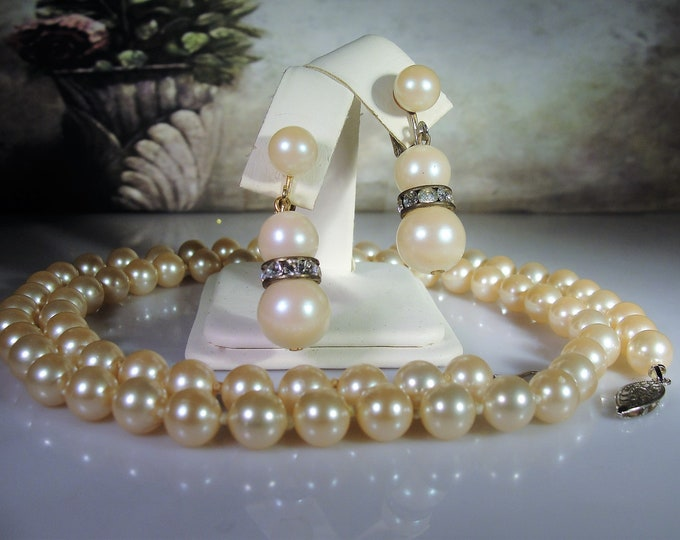 "Jewelry Set, Pearl Necklace and Earrings, 30"" String of Pearls, Screw Back Pearl & Rhinestone Earrings, Vintage Jewelry Set"
