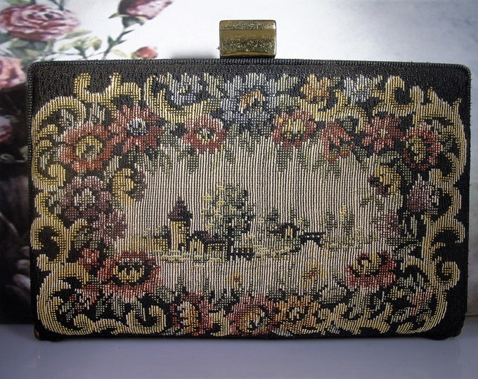 Compact Purse Set, Petite Point Tapestry Purse and Gold Powder Compact Lipstick Holder and Comb