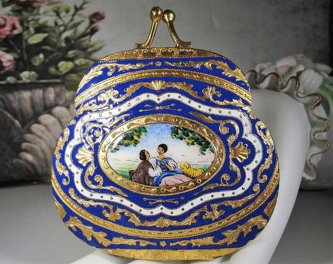Estate Powder Compact, Victorian Enamel & Gold Gilt Powder Compact and Mirror, Antique Purse Shaped Compact, Romantic Compact - Collectible