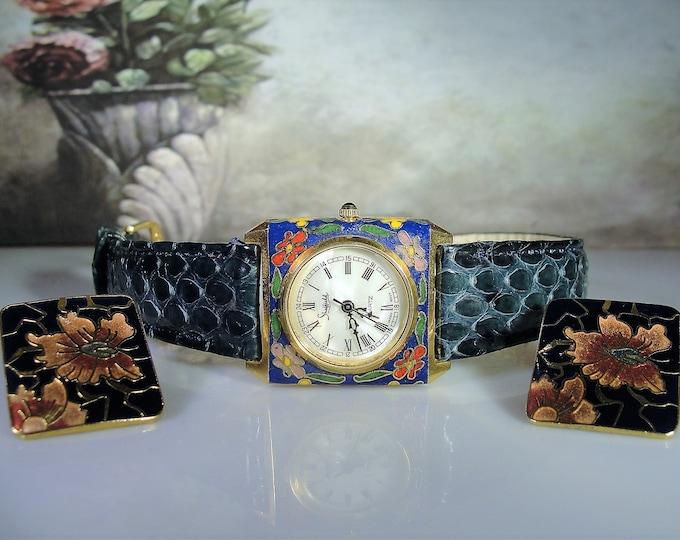 Cloisonné Watch & Earrings Set, Ladies Wrist Watch, Genuine Leather Band, Quartz Wrist Watch, Stud Earrings, Vintage Watch, Vintage Earrings