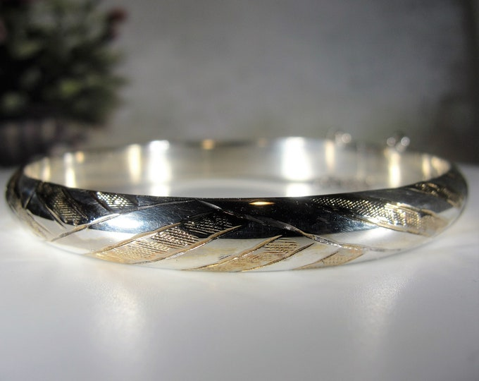 Bangle Bracelet, Vintage Sterling Silver and Gold Design Etched Bangle Bracelet With Safety Chain, Vintage Bangle